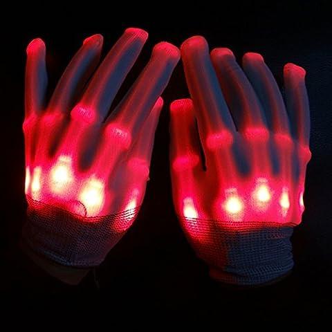 Licht LED Skelett-Handschuhe bis Rave Handschuhe Glow in the Dark LED Handschuhe Halloween-Kostüm Neuheit Weihnachten Geschenk, Kinder, rot