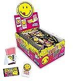 Vidal Smiley Emojii Gum. Gomme da Masticare Gusto Fragola con Tatuaggi Smiley Emojii. Ogni Gomma contiene, nel suo incarto, Splendidi Tatuaggi delle Faccine Emojii Smile. Confezione da 200pz