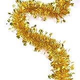 kraftz®–2m (Signalübertragung) X 9cm Deluxe Dick Breit Gold glänzend Glitter Weihnachtsbaum Lametta Girlande Mit Gold Sterne für Festival Geburtstag Party Hochzeit mit Prägung Dekoration