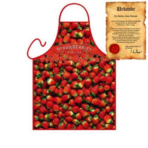 Dessert Früchte Kochschürze: Strawberries - Geschenke Erdbeeren Schürze zum Geburtstag one Size, bunt mit gratis Urkunde : )