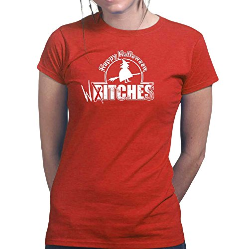 Womens Happy Halloween Witches Bitches Funny Ladies T Shirt (Tee, Top) Red