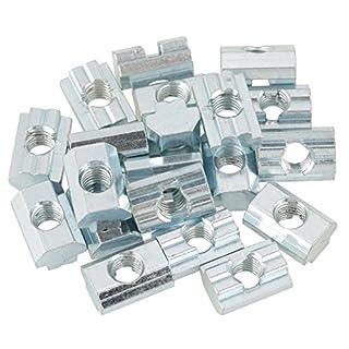 20pcs Standard-Gleitmutter verzinkter Kohlenstoffstahl Schiebe T Nut Mutter für Aluminiumprofil Zubehör(T-Nut-Muttern Typ 40 M8)