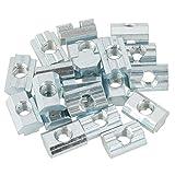 Dado scorrevole con scanalatura a T scorrevole in acciaio al carbonio galvanizzato da 20 pezzi per accessori profilati in alluminio(T-Nut-Muttern Typ 40 M8)