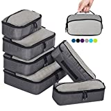 ZOMAKE Packing Cubes Packwürfel Set,Kleidertaschen Packtaschen 6-teiliges,ltra-leichte Koffer Organizer Set Ideal für Seesäcke, Handgepäck und Rucksäcke (grau)