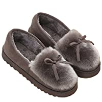 BELLOO Ladies Girls Winter Cosy Home Slippers Fur Lined, Grey Size 5