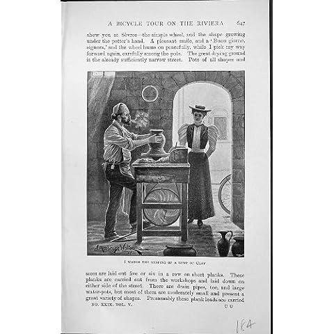 Stampa 1903 dell'Oggetto D'antiquariato del Tornio Da Vasaio dell'Argilla di
