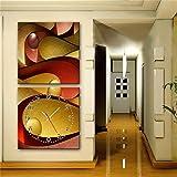 NAUY-Modern Style Canvas Painting Reloj de Pared Abstracto cšªrculo en Lona 2pcs