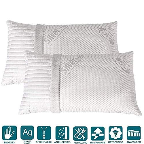 Evergreenweb - coppia cuscini memory foam con fodera silver 40x70 alti 15cm 2 guanciali letto per dolori cervicali tessuto sfoderabile imbottitura 100% fiocco anallergico ideali per tutti materassi