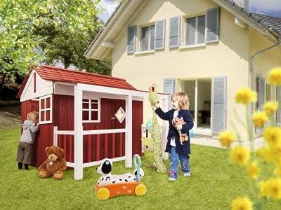 """Holz Kinder Spielhaus """"Ida"""" Schwedenhaus Holzhaus Gartenhaus Haus Kinderhaus rot von dynamic24 - Du und dein Garten"""