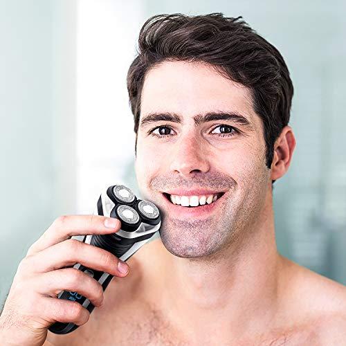 HATTEKER Afeitadora Eléctrica Hombre Afeitadora Rotativa Profesional Eléctrica Barba Afeitadoras de Láminas Inalámbrica y Recargable con Recortador de Precisión