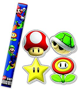 4 crayons + gommes Mario Bros - Taille Unique