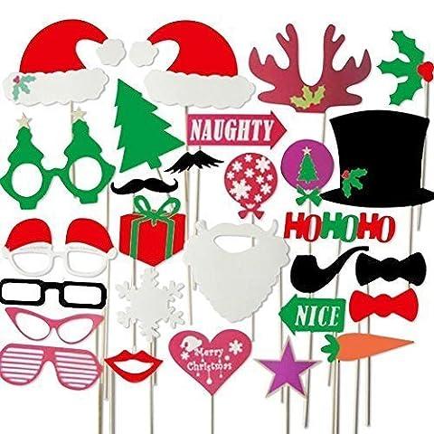 28 pièces coloré fête accessoires photo booth sur bâtonnets DIY drôle ' Noël 2016 Edition Spéciale' par Trimming Shop