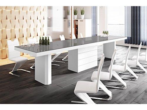 H MEUBLE Table A Manger Design Extensible (160 ÷ 223 ÷ 349 ÷ 412) CM X P : 100 CM X H: 75 CM - Gris/Blanc