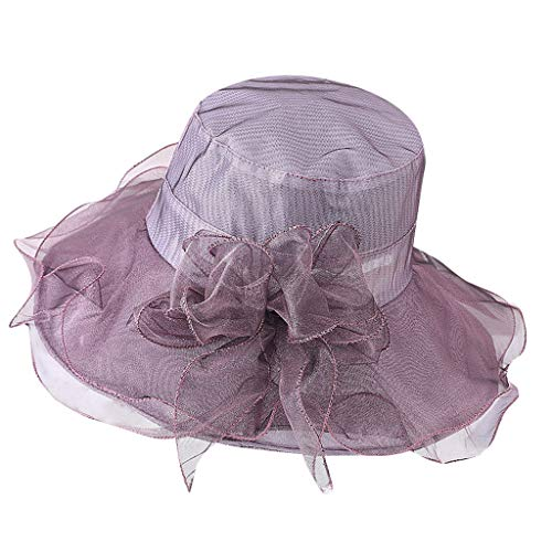 y Derby Hat for Women, Organza Church Dress, Bowler Hat, Sun Hat, Wedding Hat, Fascinator Bridal Tea Party Shopping Formal Occassion Outdoor Activities, 55-60CM (Purple) ()