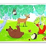 murando - Fototapete 300x210 cm - Vlies Tapete - Moderne Wanddeko - Design Tapete - Wandtapete - Wand Dekoration - für Kindertapete Kinderzimmer Kinder Wald Tiere e-A-0031-a-a
