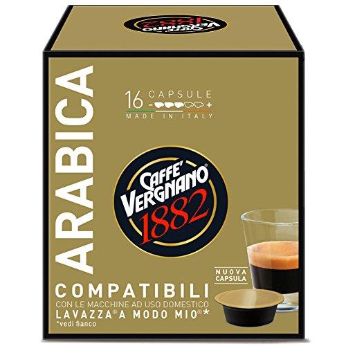 Caffe' vergnano 1882 capsule arabica - 8 confezioni da 16 capsule compatibili lavazza a modo mio (tot 128 capsule)