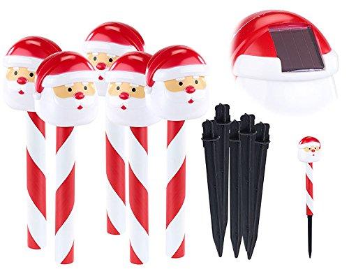 Ensemble de 5 piquets décoratifs solaires à LED Père Noël