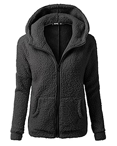 Femme Sport Veste Zippé Sweat-shirt à Capuche Manteau Hoodie Chaud Manche Longue Blouson Noir L