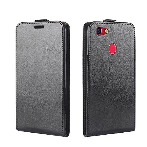 Banath Handy Hülle für Oppo F5 PU Leder Flip Wallet Cover Stand Case Card Slot Leder Karteneinschub Magnetverschluß Kratzfestes (Schwarz)