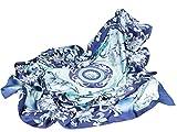 Prettystern Dipinto a Mano 110cm XL Foulard di Seta Pittura Cinese a Pennello Fiori Ornamenti Fantasie Porcellana Blu