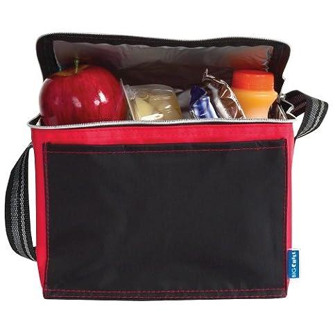 eBuy GB - Sac isotherme repas/déjeuner noir avec bordure colorée - Petit, Noir et Rouge