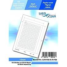 3750 Papier-Etiketten A4 Bogen neon-gelb 15 mm rund Klebepunkte permanent