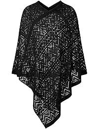 DJT Femme Poncho et Cape en Tricot au Crochet Pull-over pour automne hiver