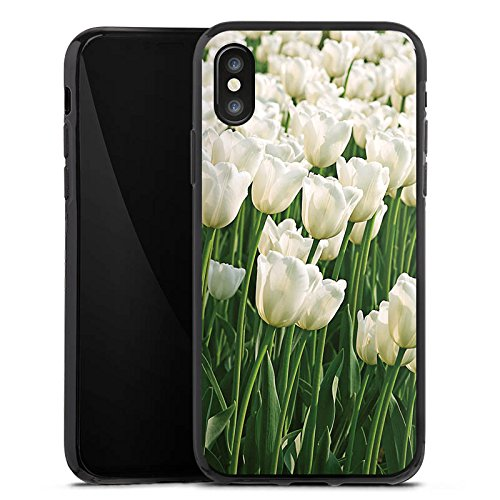 Apple iPhone X Silikon Hülle Case Schutzhülle Tulpen Blumen Blumenwiese Silikon Case schwarz