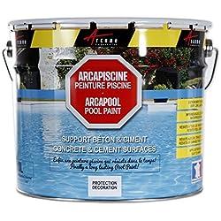 ARCAPISCINE: pintura para piscina, protección y decoración, soporte de hormigón o cemento, puesta en obra fácil, color azul, blanco o gris