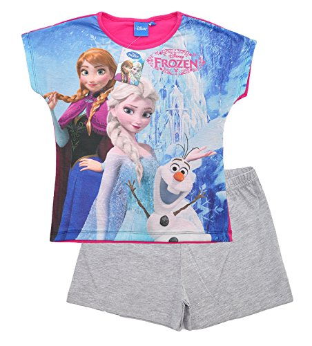 Official Licensed Disney Frozen Anna Elsa Short Sleeve Pyjamas PJs Loungewear Set Girls Ages 3 to 10 Years