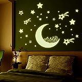 Mond Haus Sterne Leuchtende Aufkleber Fluoreszierende Aufkleber Wohnzimmer Schlafzimmer Dekorieren Wandaufkleber