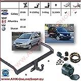 AHK Anhängerkupplung mit Elektrosatz 13 polig für Ford Galaxy / Seat Alhambra / VW Sharan 2000-2006 Anhängevorrichtung Hängevorrichtung - starr, mit angeschraubtem Kugelkopf