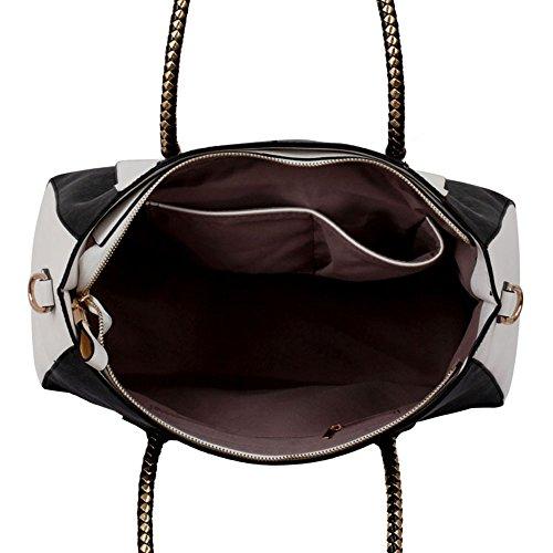 LeahWard® Große Größe Damen Kunstleder Qualität Handtasche Damen Mode Essener Tragetasche Berühmtheit Stil Qualität Taschen CWS00318 CWS00149 Schwarz /Weiß