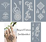 Mikronetz Tattoo Schablonen Vorlagen für Körperbemalung selbstklebend einfach und wiederverwendbar 5 Sheets set Mandala