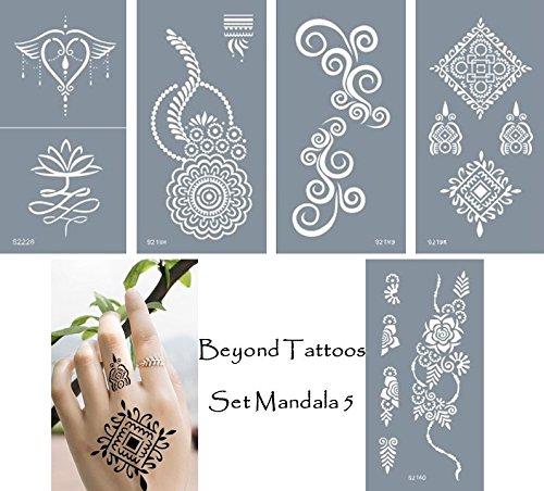 Lot de 5 pochoirs autocollants en micro-maille pour tatouages temporaires - Design mandalas - Faciles et réutilisables