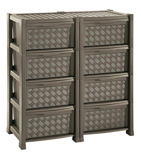 Tontarelli arianna cassettiera con 8 cassetti doppia, wengè, 78x49.5x82.5 cm