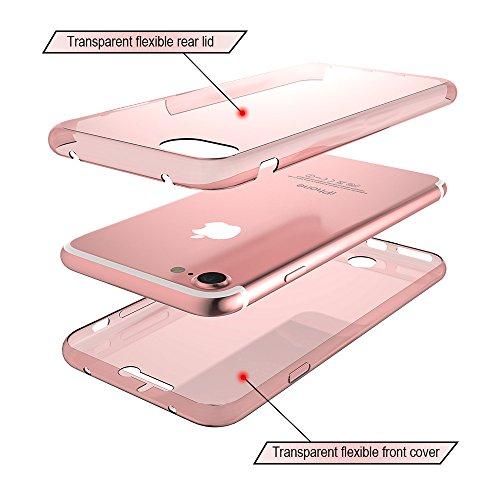 Coque iPhone SE, Étui iPhone 5S , iPhone SE / iPhone 5S Case, ikasus® Coque iPhone SE / iPhone 5S Étui de protection complet avant + arrière 360 degrés Étui en silicone souple [Shock-Absorption] Houss Or rose