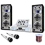 Electronic-Star Set DJ Polar Bear Summer Vibe - Impianto per DJ PA, Set Completo, Mixer, Altoparlanti, Amplificatore 1000 W, Bass Reflex, Potenza 2200 W, USB, SD, Radio, Color Bianco
