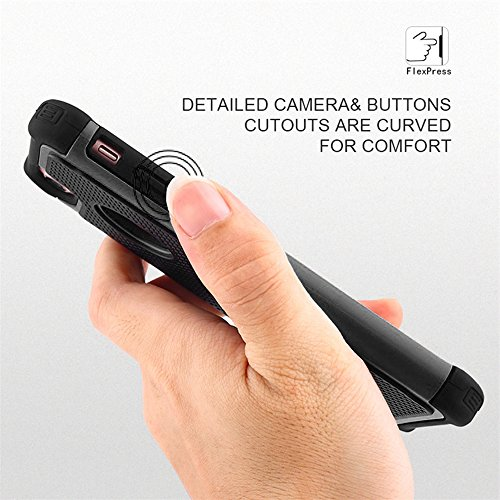 iPhone 7 Plus Hülle, FOGEEK [Unverwüstlicher Schutz] [Dual Layer] Silikon Ganzkörper Tasche Schutzhülle Case Cover für Apple iPhone 7 Plus (iPhone 7 Plus, Schwarz) Schwarz