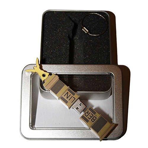Souvenir Berlin   Geschenkidee: USB-Stick mit Schlüsselanhänger in Form der Siegessäule für Frauen & Männer   inklusive Fotogalerie von Berliner Sehenswürdigkeiten   Memory Stick 8 GB   CultourStix