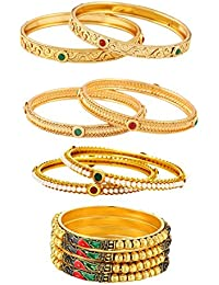 Jewels Galaxy Delicate Pearl Studded, Red-Green Ruby & Stunning Mayur Design Broad Bangles Set For Women/Girls...