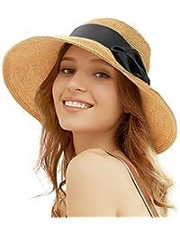 Tacobear Pamela Mujer Verano Sombrero Plegable Sombrero de Playa ala Ancha Sombrero de Sol Gorro de Paja Viaje Vacaciones Protección UV para Mujer