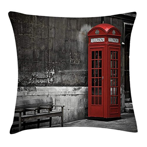 London Throw Pillow Cushion Cover, Famous British Phone Boot in London Streets Important Icon of Town Urban Life Photo, Decorative Square Accent Pillow Case, 18 X 18 inches, Red Grey Urban Waterproof Boot