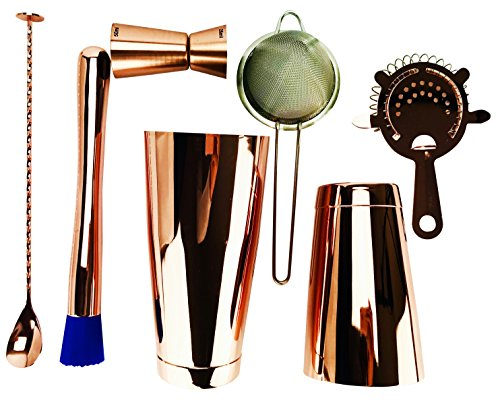 7 Piece Copper Pro set Boston cocktail shaker Tin 793,8 gram, shaker 510,3 gram Tin 4 Prong strainer, fine strainer, Jigger 25/50ML testa piatta cucchiaio da bar attorcigliato e pestello professionale kit barman