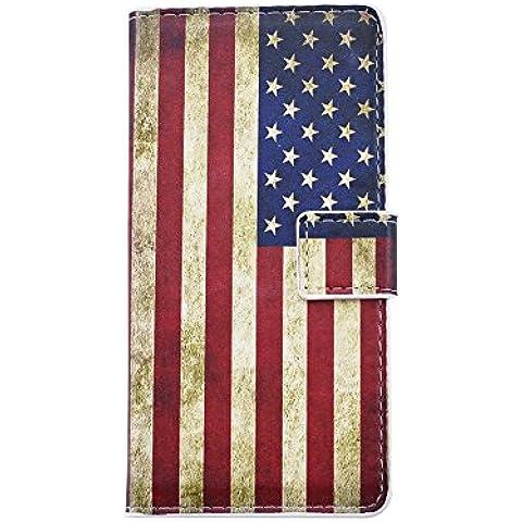Cozy Hut Custodia Huawei P9, Huawei P9 Cover, Huawei P9 Flip Cover, Disegno di Stampa Disegno della American Flag di stile del Libro Portafoglio Custodia in PU Cuoio, Elegant Flip Protettivo Wallet Caso Copertina con Funzione di Supporto per Huawei P9 - American Flag
