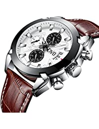 CIVO Mens Chronograph Watches Gents Multifunctional Luxury Business Dress Wrist Watches Casual Waterproof Date Calendar Artistic Analogue Quartz Watch for Men with Brown Genuine Leather Band Big Face