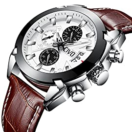 CIVO Mens Watches Black Brown Chronograph Multifunctional Waterproof Date Calendar Wrist Watch for Men Teenager Boys with Leather Band Fashion Luxury Business Dress Casual Men Sport Watches (Brown)