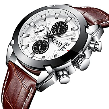 CIVO Mens Chronograph Watches Multifunctional Waterproof Date Calendar Wrist Watch for Men Teenager Boys with Brown…