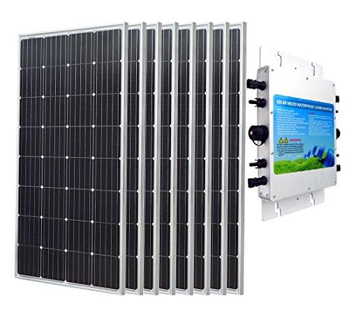 ECOWORTHY 1200W Grid Tie PV Solar System: 8150W Mono Solarzellen & Grid Tie Power Inverter 1200W 24V ideal für Haushalt Netzteil (Grid Solar Pv Tie)
