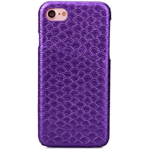 iPhone Case Cover Solid Color Scale Pattern Hard Cover Zurück mit Card Slot für IPhone 7 ( Color : Gray , Size : IPhone 7 ) Purple